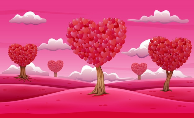 Valentine trees landscape with heart shaped leaves