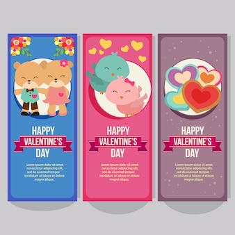 Valentine vertical banner with bear and bird couple