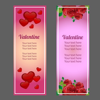 Valentine vertical banner with love and red rose ornate