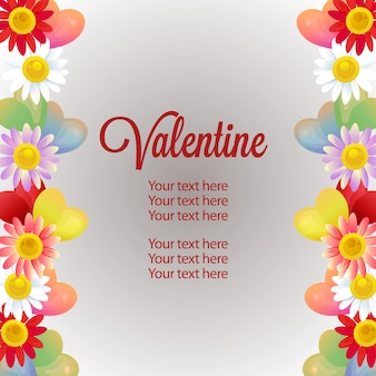 Valentine vertical border template daisy ornament