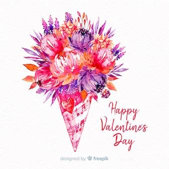 Valentine watercolor bouquet background