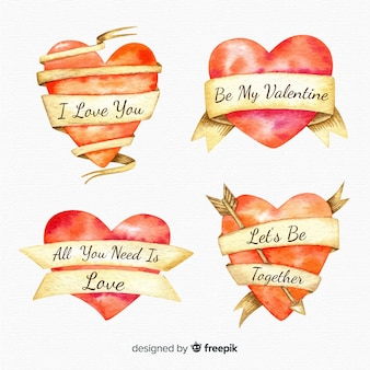 Valentine watercolor heart collection