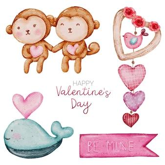 발렌타인 수채화 요소 컬렉션