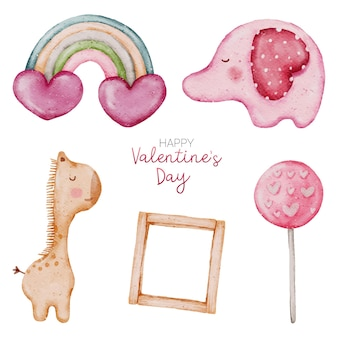 Valentine watercolour element collection