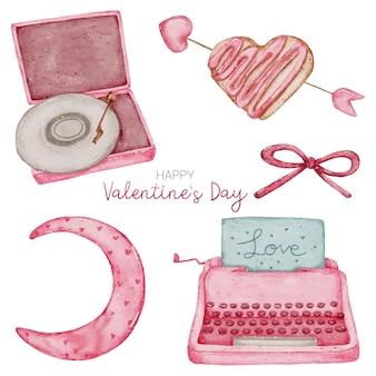 バレンタイン水彩要素コレクション