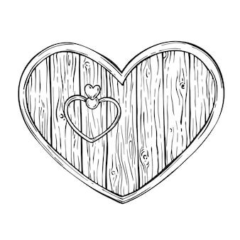 バレンタイン木製ハートドア木製ボードフレームバッジシールド看板スケッチ木製テクスチャ
