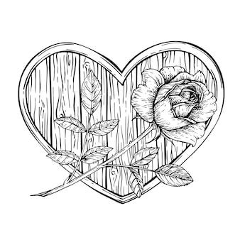 잉크와 발렌타인 나무 심장 장미.