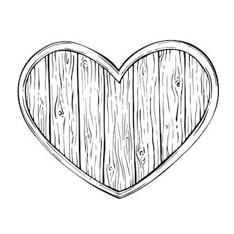 バレンタインの木製の心。木の板、フレーム、バッジ、盾、看板。白で隔離の木のテクスチャをスケッチします。