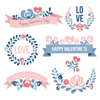 Valentine's day floral elements set