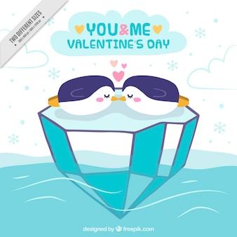 Valentines background of loving penguins