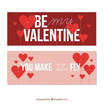 Валентина баннеры с сердцем в красных тонах