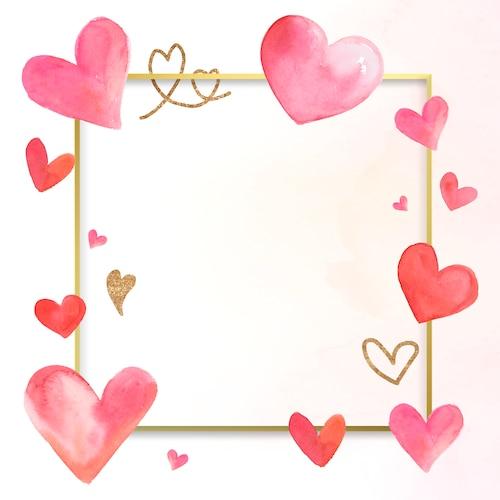 Valentine's border watercolor illustration