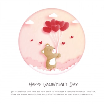 Valentines card with cute teddy bear in paper cut style illustration.