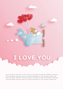 Valentines card with cute teddy bear with vintage airplane and heart balloon