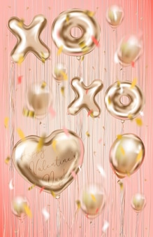 Valentines card with foil balloons on the coral background