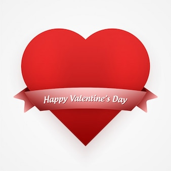 赤いハートとリボンでバレンタインカード