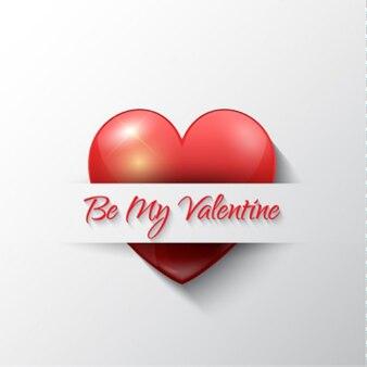 Carta di san valentino con il cuore lucido