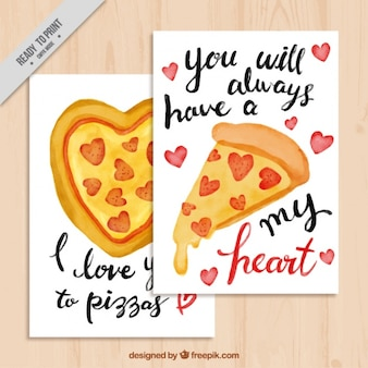 Valentines cards with messages and watercolor pizzas