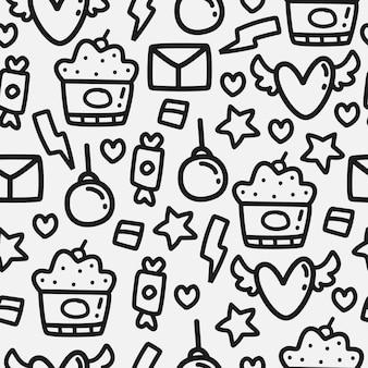 발렌타인 만화 낙서 패턴