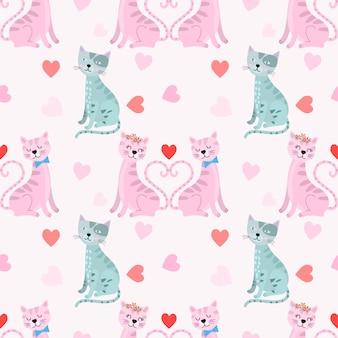 心の形のシームレスなパターンとバレンタイン猫。