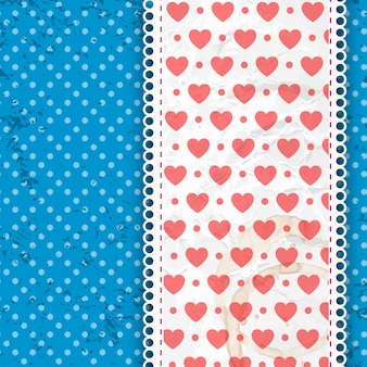 Valentines composition heart print on wide ribbon with bright blue dotted vector illustration
