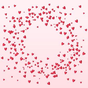 발렌타인 색종이 하트 배경에 떨어지는 프리미엄 벡터