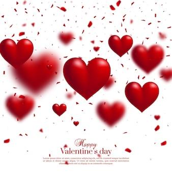 バレンタイン・デー 。 3dボケ効果は赤いハートと爆発粒子に影響します。