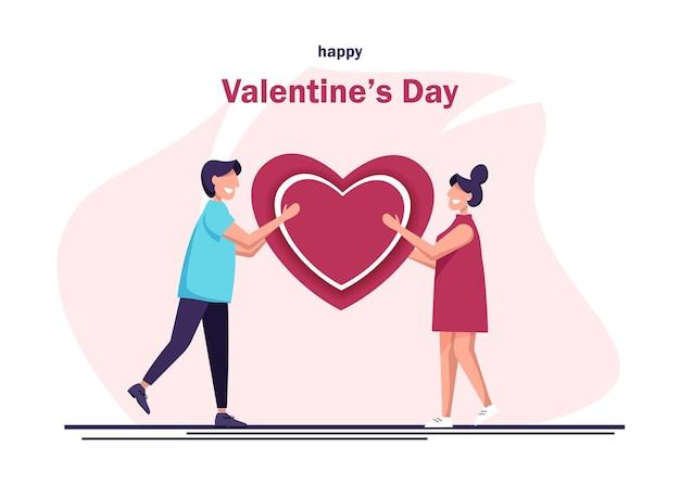 발렌타인 데이. 남자는 여자에게 마음을 준다. 행복 한 남자와 여자의 벡터 일러스트 레이 션. 사랑하는 남자가 발렌타인 데이에 마음을 잡고 있습니다.