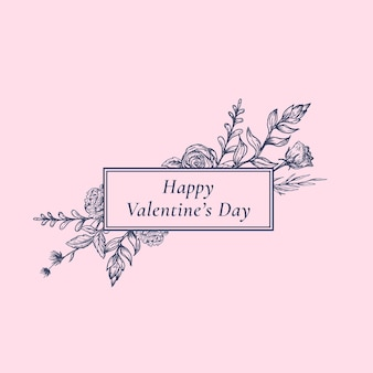 長方形のフレームの花のバナーとレトロなタイポグラフィとバレンタインデーの抽象的な植物ラベル。