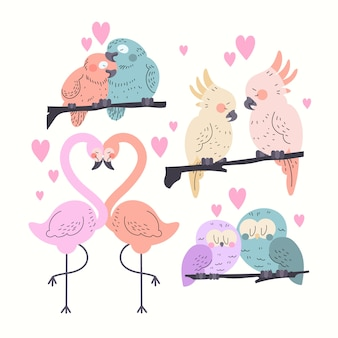 Valentines day animal couple collection