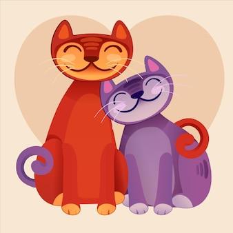 День святого валентина рисунок пара животных