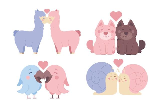 Valentines day animal couple illustration