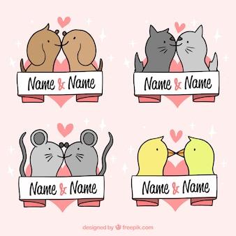 Valentines day animal couple set
