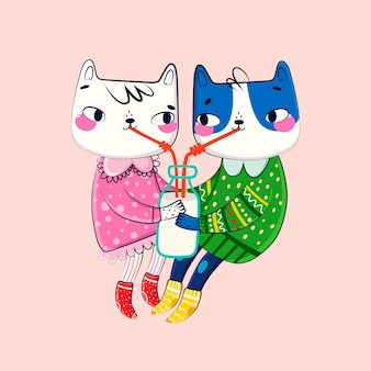 День святого валентина животных пара