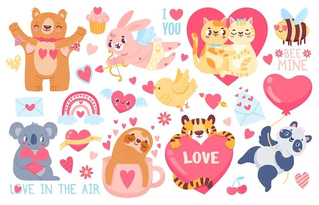 발렌타인 데이 동물. 큐피드 토끼, 애완용 고양이는 커플 포옹, 호랑이, 코알라, 팬더를 마음으로 사랑합니다. 해피 발렌타인 귀여운 스티커 벡터 세트입니다. 그림 사랑 귀여운 고양이와 팬더, 나무 늘보와 호랑이