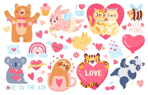 Valentines day animals. cupid bunny, pet cats love couple hug, tiger, koala and panda with hearts. happy valentines cute sticker vector set. illustration love cute cat and panda, sloth and tiger