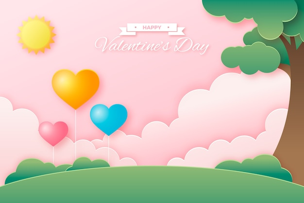 Valentines day background concept in paper style