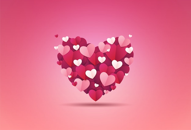 Valentines day background. the heart is decorated with small heart-shaped paper.