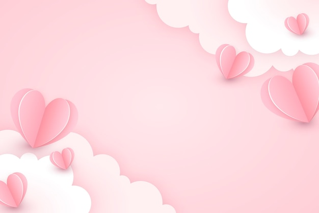 День святого валентина фон в бумажном стиле