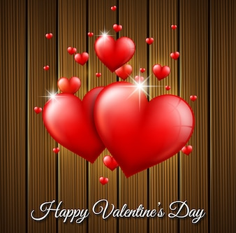 Valentines Day background on wooden texture