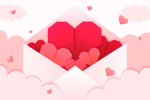 Valentines day background in paper style