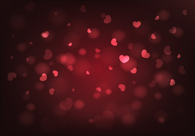 Valentines day background. red  hearts and bokeh. vector.