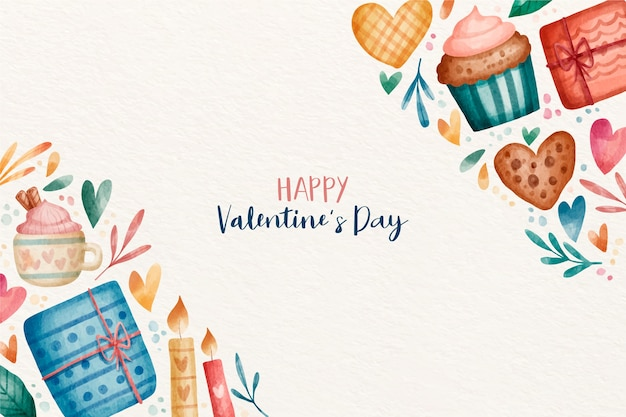 Valentines day background in watercolor