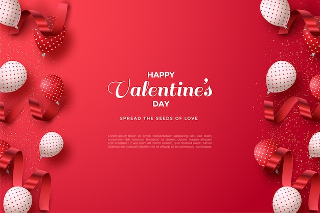 Valentines day background with 3d balloons and red ribbons.