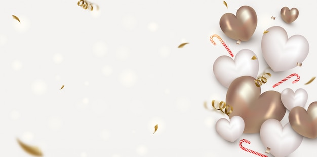 Valentines day background with 3d  hearts, flying confetti,particles, bokeh.template for sales, invitations, promotionals.