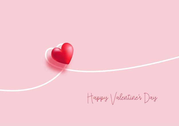 最小限のハートのデザインでバレンタインデーの背景