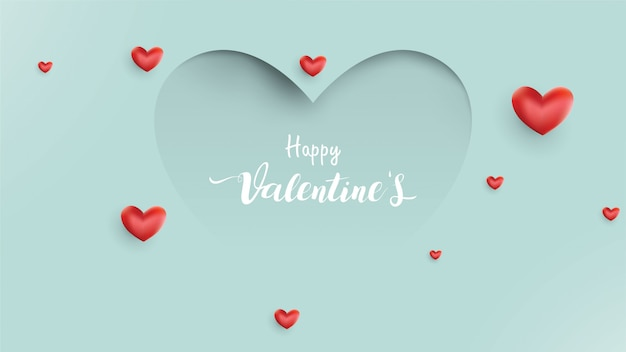 Valentines day background with balloons heart and love