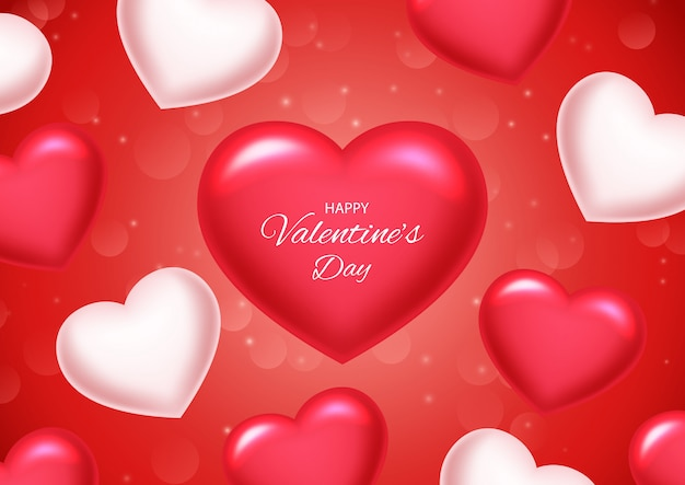 Valentines day background with balloons heart