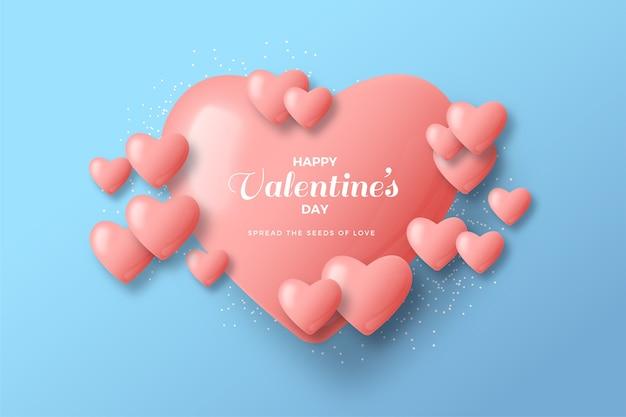 День святого валентина фон с большими любовными воздушными шарами, сложенными с маленькими воздушными шарами.