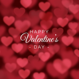Valentines day background with blurred hearts
